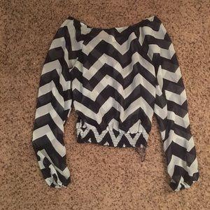 Pattern Off-the-Shoulder Sheer Blouse